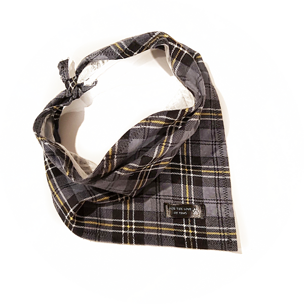 Grey, Black and Yellow Plaid Bandana