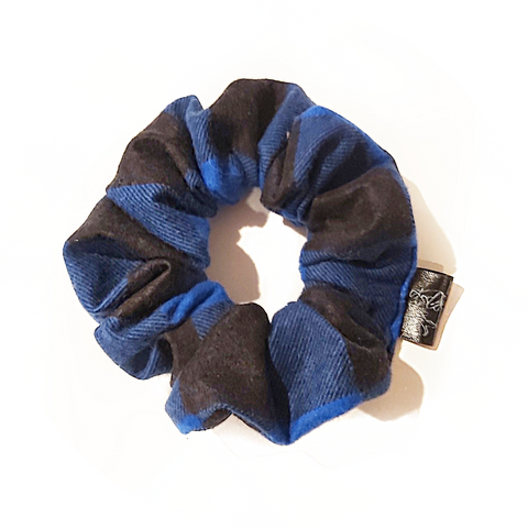 Black and Royal Blue Checker Scrunchie