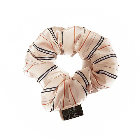 Silk Baby Pink Scrunchie with Stripes
