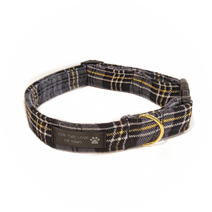 Grey, Black and Yellow Plaid Collar