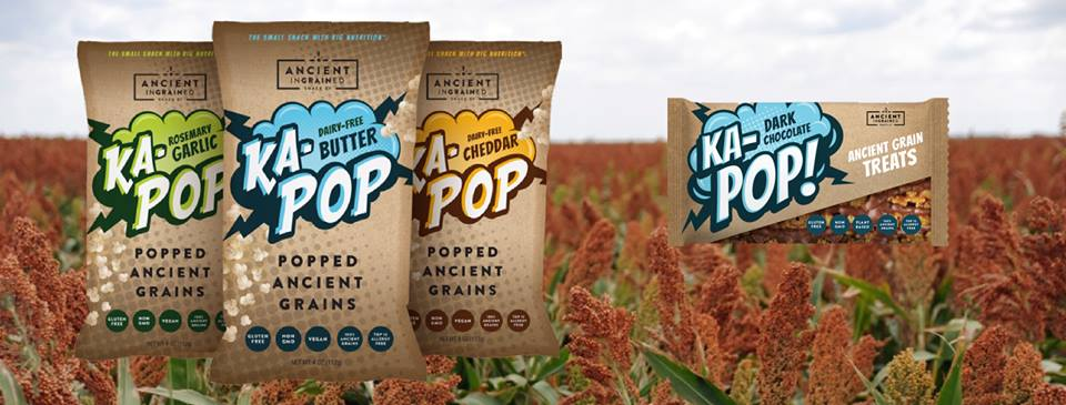 ka-pop chip bag in a field of amaranth grains