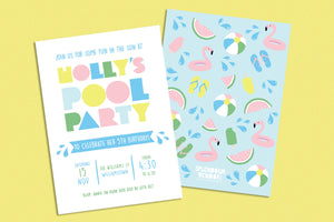 Kids birthday party summer pool party invitation - Kids Events & Co.