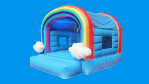 Rainbow cloud jumping castle