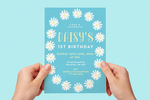 Invitation - Boho Blue Daisy Party