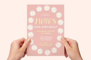 Invitation - Boho Pink Daisy Party
