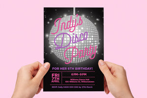 Kids birthday party disco invitation - Kids Events & Co.