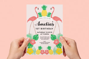 Kids birthday party summer flamingo invitation - Kids Events & Co.