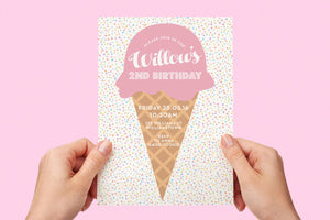 Kids birthday party ice cream invitation - Kids Events & Co.