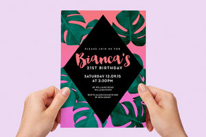 Invitation - Summer Party Pink Palm Leaf