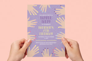 Kids birthday party pamper invitation - Kids Events & Co.