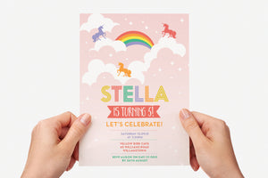 Invitation - Unicorn Rainbow Clouds