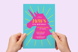 Invitation - Unicorn Party Sunburst