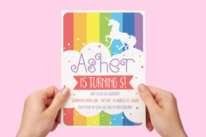 Invitation - Unicorn Party Rainbow