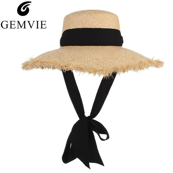 e62851fe4 GEMVIE Handmade Weave Raffia Straw Hat For Women Black Ribbon Wide Brim  Large Fields Floppy Sun
