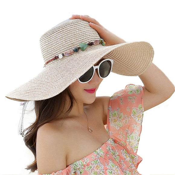 5084e43c5 Hot women big brim sun hats foldable colorful stone hand made straw hat  female summer hat