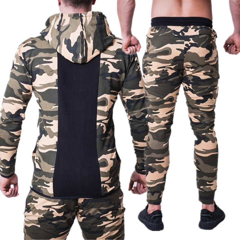 Men Sports Set Running Gym Tracksuits Fitness Bodybuilding Sportswear Mens  Hoodies+Pants Workout Leggings Male camouflage Suit