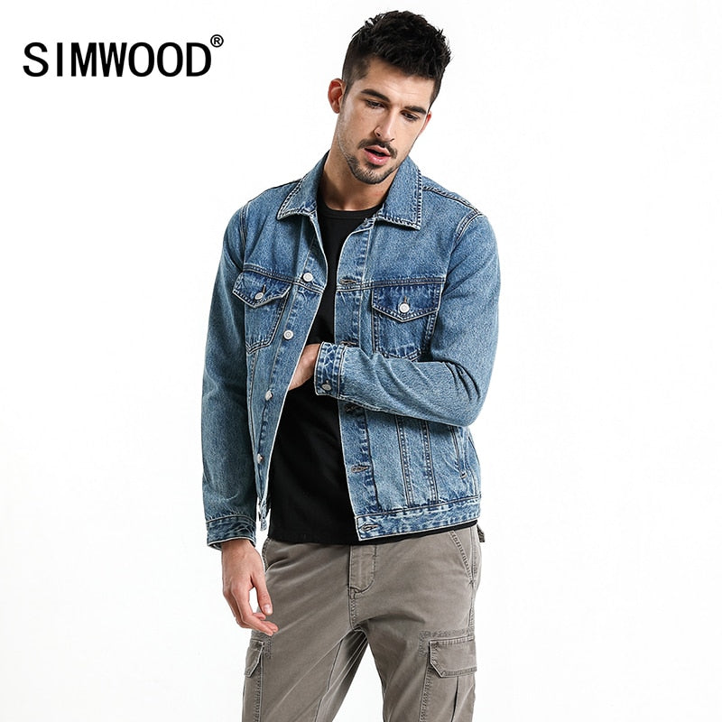 cd0d766016 SIMWOOD 2018 New Autumn Brand Denim Jacket Men Fashion Casual Style Outwear  Letter Print Jacket 100% Cotton High Quality 180081