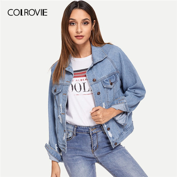 35dd85175e COLROVIE Blue Single Breasted Collar Pocket Ripped Jeans Jacket Denim Coat  Women 2019 Spring Fashion Ladies