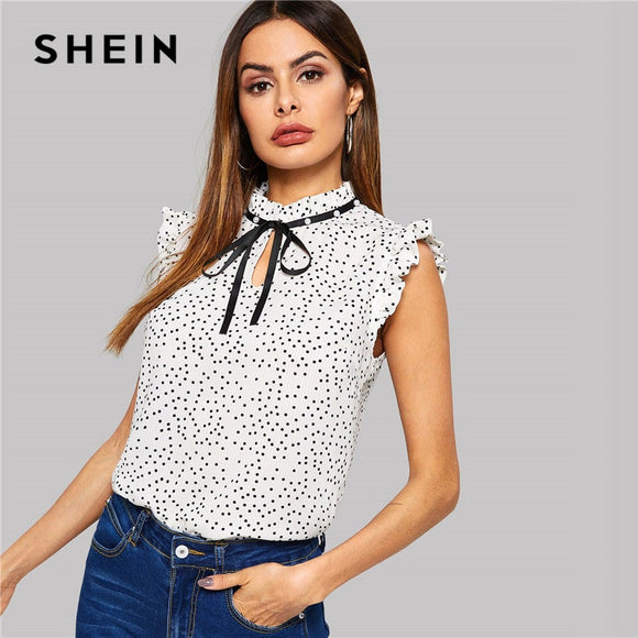 0274c8266e SHEIN White Polka Dot Ruffle Sleeveless Pearls Bow Stand Collar Blouse Women  Summer Elegant Weekend Casual
