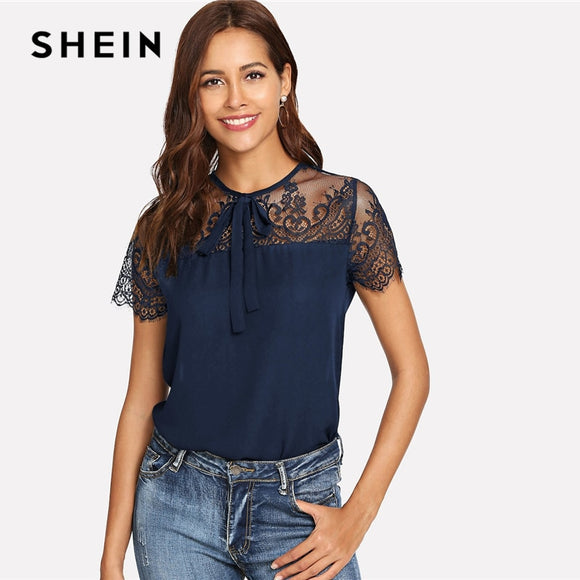7b6c331283 SHEIN Navy Tie Neck Lace Shoulder Contrast Mesh Button Top Blouse Spring  Weekend Casual Round Neck