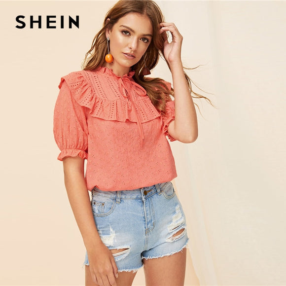 ec41ef6b75 SHEIN Boho Pink Tie Neck Embroidery Eyelet Ruffle Top Lace Blouse Women  Summer 2019 Stand Collar