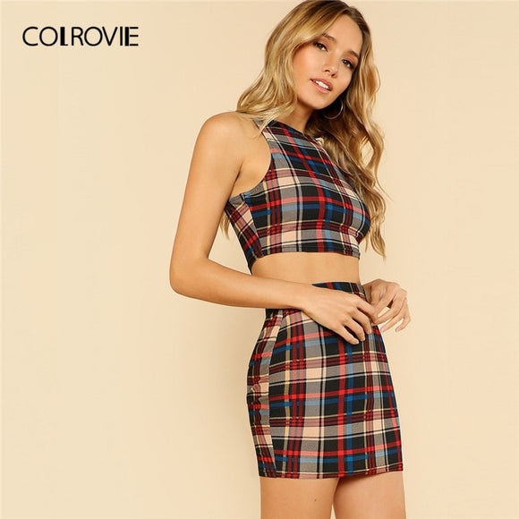 2f82c2d32e COLROVIE Plaid Print Sleeveless Crop Top And Skirt Two Piece Set Sexy Suit  2019 Summer Holiday