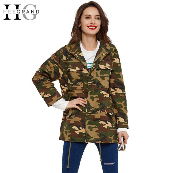 a7128988a056 HEE GRAND 2018 Fashion Women Loose Camouflage Coat Stand Collar Adjustable  Waist Jacket Pocket Long Sleeve