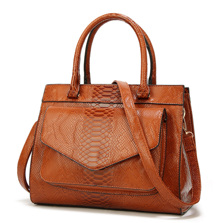 Women PU Leather Brown Casual Tote Shoulder HandBag-Fashion3K
