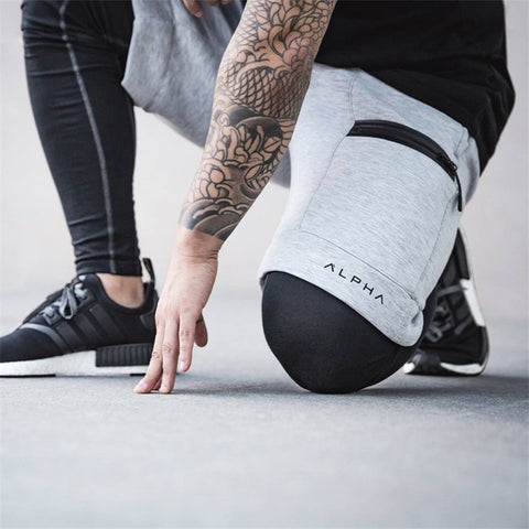 Shorts Sports Running Shorts Men Cotton Zipper Joggers Jogging Sweatpants gym crossfit shorts men Workout Short Pant-Fashion3K
