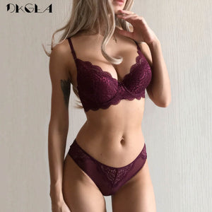 Super Gather Sexy Underwear Set Women Bras Deep V Purple Brassiere Thick Push Up Bra Panties Set Lace Embroidery Lingerie Sets-Fashion3K