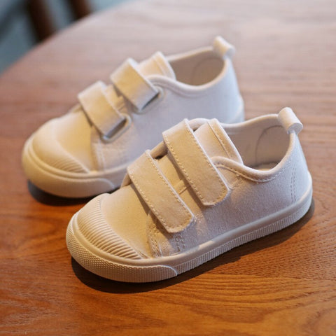 White Kids Soft Canvas Shoes Trainers For Girls Boys Toddlers Fashion3K