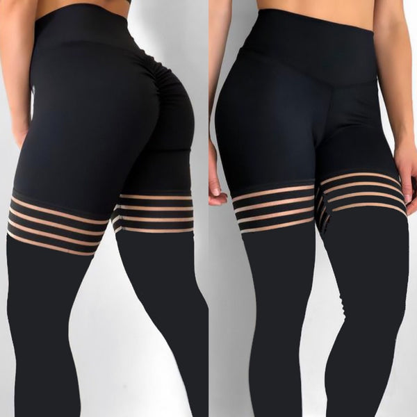 High Quality Black Elastic Workout Thick Leggings-Fashion3K