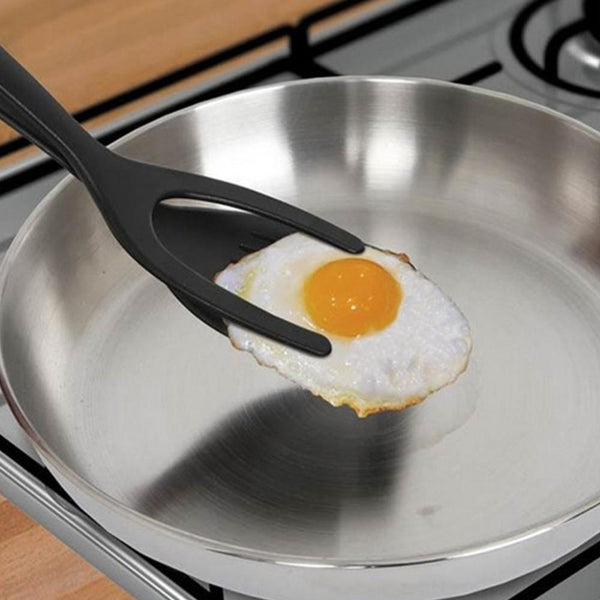 2 In 1 Grip and Flip Tongs Egg Spatula Tongs Clamp Pancake Fried Egg French Toast Omelet Overturned Turner Kitchen Accessories-Fashion3K