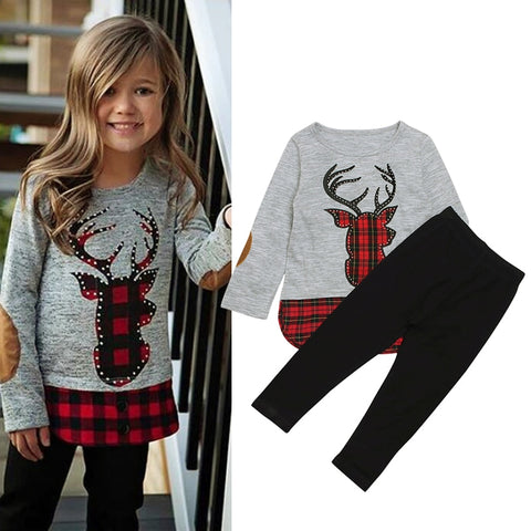 Autumn and Winter Girls Clothes Deer Printed T-shirts+Long Pants 2Pcs Christmas Outfits Kids Clothes Suit For Girls Fashion3K