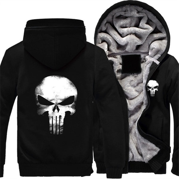 Hoodies Men Punisher Skull Cosplay Coat Zipper Hoodie Fleece Thicken Jacket Sweatshirts-Fashion3K