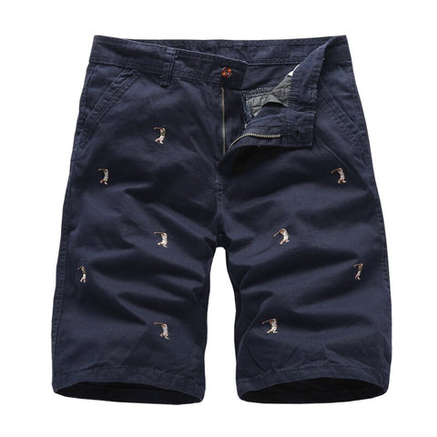 Men's Cargo Shorts Male Embroidery 100% Cotton Shorts Men Casual Cargo Shorts-Fashion3K