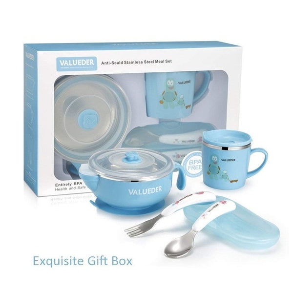 Baby Stainless Steel Feeding set with Baby Feeding Bowl Baby Spoon and Baby Cup as Gift Box-Fashion3K