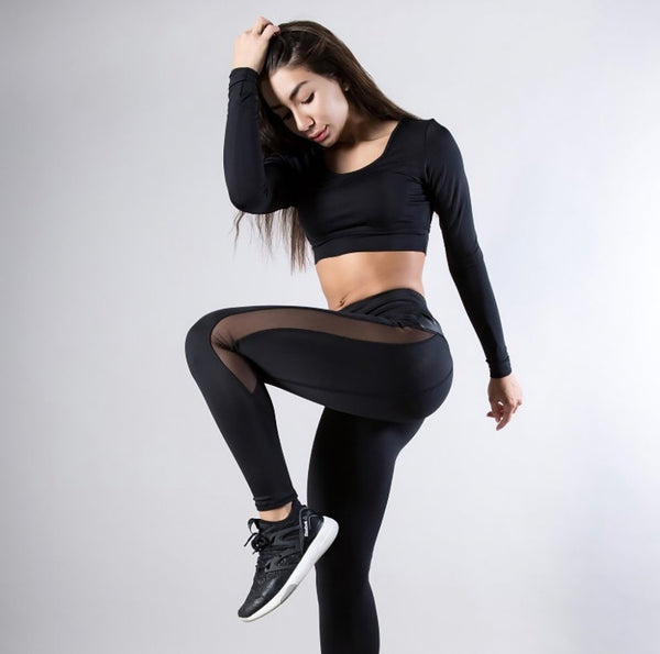 Sexy Mesh Leather Patchwork Black Leggings for Women-Fashion3K