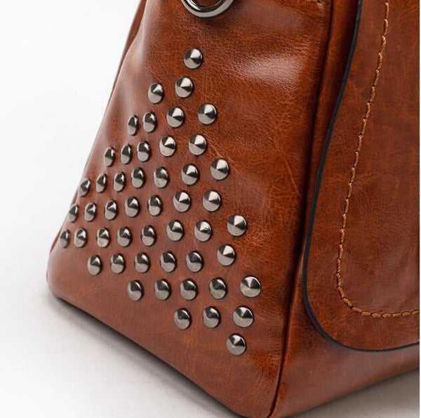 Rivet female bag large capacity shoulder bag diagonal cross package-Fashion3K