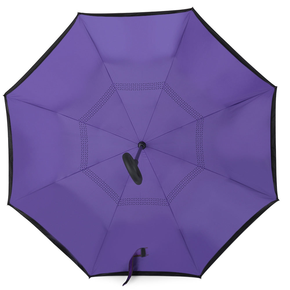 Windproof Rain Reverse Folding Double Layer Umbrella C-shape Handle-Fashion3K