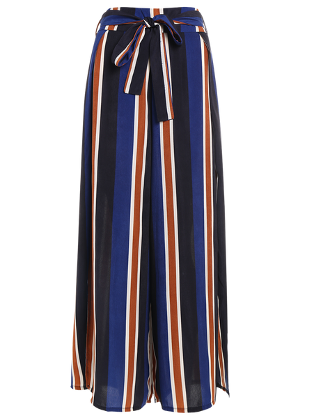 Womens Spring Summer Evening Office Wear Striped Trouser Pants-Fashion3K