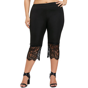 SALE Fashionable Spring Summer Plus Size Womens Lace Trim Capri Pants-Fashion3K
