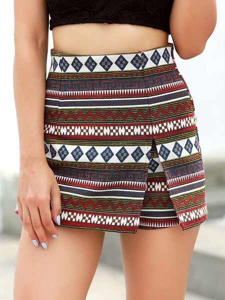 Trendy Girls High Waist Spring Summer Patterned Shorts Skirt-Fashion3K