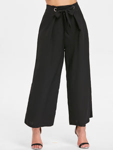 Women Stylish Zipper Waist Belted Wide Leg Trouser Pants-Fashion3K