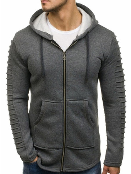 Solid Sleeve Pleated Pocket Full Zipper Fleece Hoodie Fashion3K