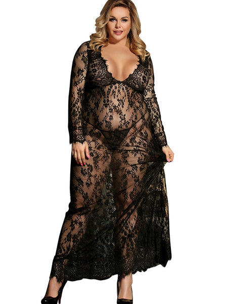 Plus Size Maxi Lace Lingerie Dress-Fashion3K
