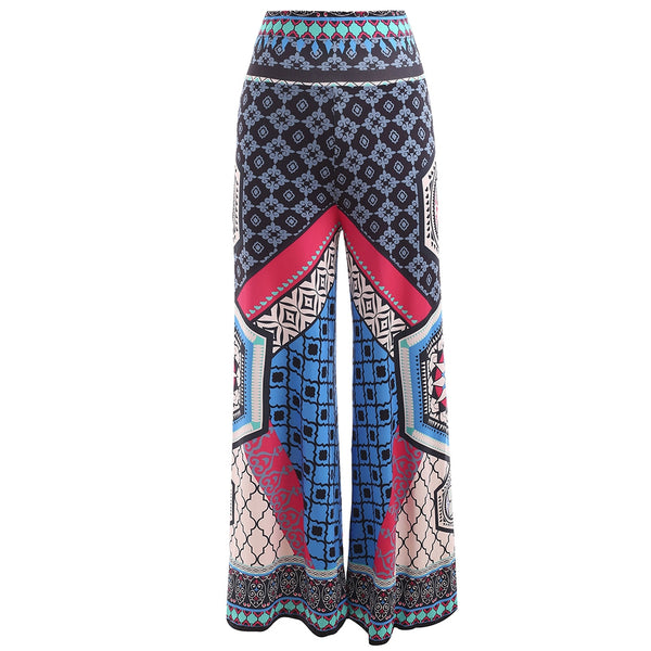 Womens Spring Summer High Rise Ethnic Print Wide Leg Pants-Fashion3K