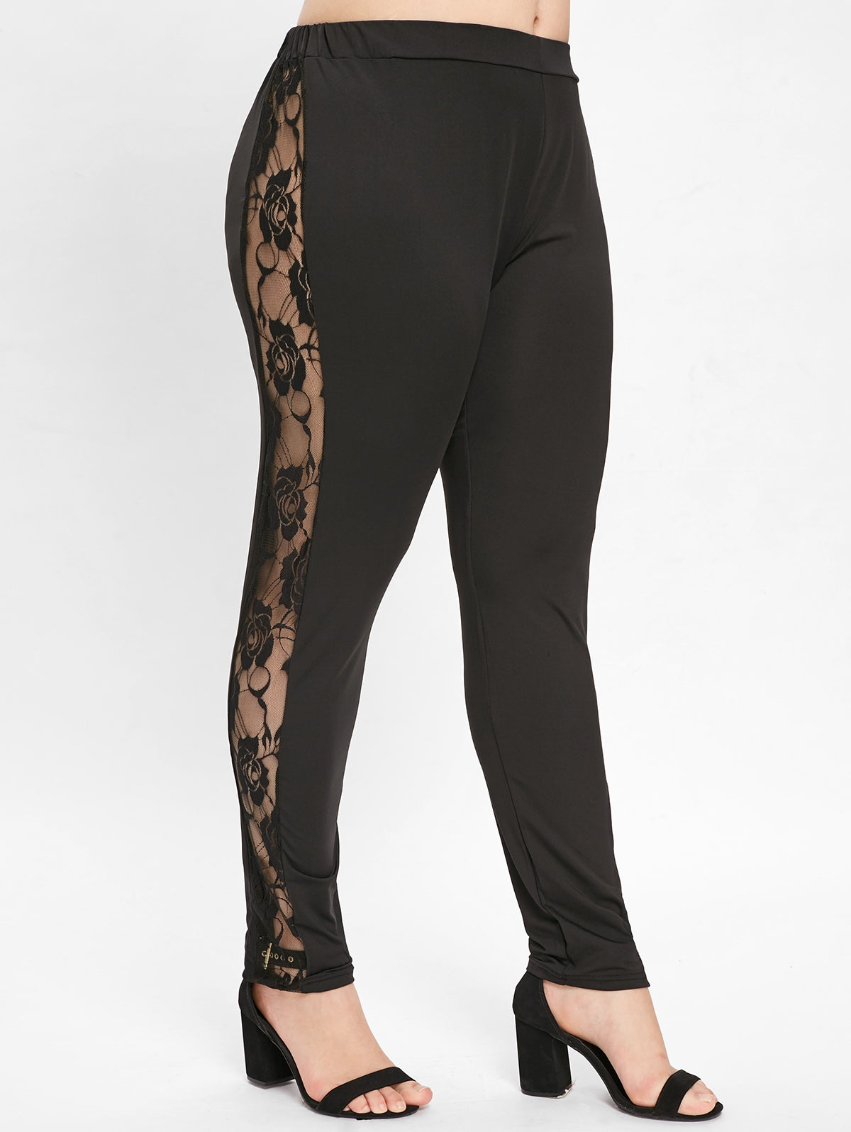 Side Lace Panel Plus Size Leggings-Fashion3K