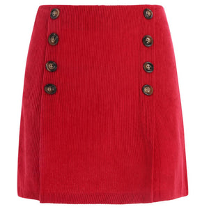 Girls Women Pretty Spring Summer Short Red Corduroy Skirt Buttons-Fashion3K