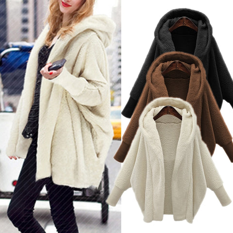 Women Winter Soft Faux Fur Coat with Hoody-Fashion3K